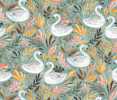 Whimsical White Swans with Autumn Leaves on Sage - large