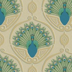 Art Deco Peacock -jumbo