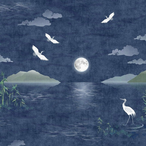 Moonrise with Cranes and Bamboo (xl scale)   Night sky, moon fabric, bird fabric, seascape with mountains, cloud fabric, water fabric, lake scene.