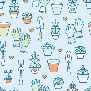 Colorful Hand Drawn Garden Accessories on Blue seamless pattern background.