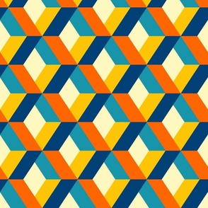 Retro diamonds colorful 3D geometrics Wallpaper Fabric