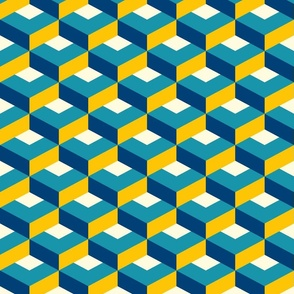 Retro flat cubes check 3D teal yellow fitness Fabric