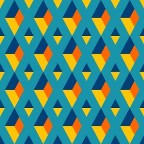 Retro 3D diamonds geometrics teal orange Fabric