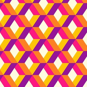 3D diamonds colorful geometrics purple pink orange retro large Wallpaper Fabric