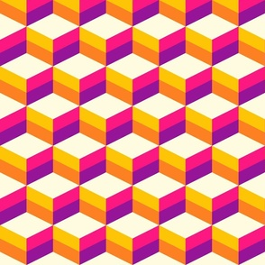 3D cubes colorful geometrics pink purple yellow Wallpaper Fabric