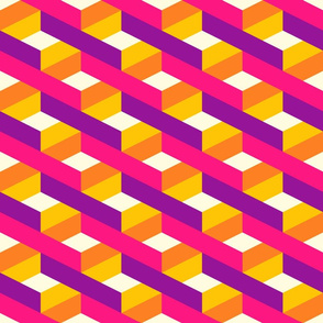 Ribbons colorful geometrics 3D pink purple retro Wallpaper Fabric