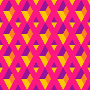 3D diamonds geometrics columns pink yellow retro Wallpaper Fabric