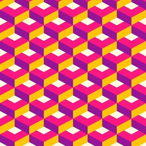 Pink geometrics 3D flat diamonds Wallpaper Fabric