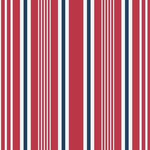 Red nautical stripes horizontal retro Wallpaper Fabric
