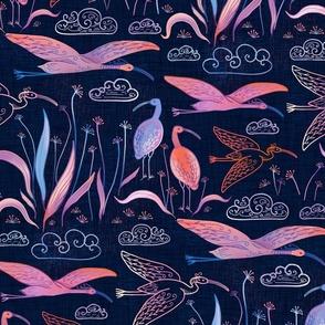 large birds - ibises on dark blue - smaller scale / scarlet ibises midnight blue