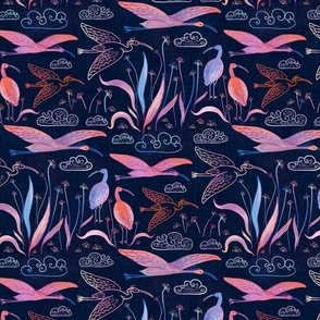 large birds - ibises on dark blue / large scale / midnight blue