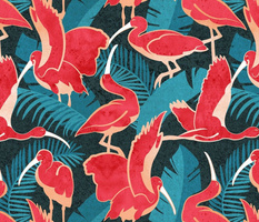 Normal scale // Luxurious Scarlet Ibis // teal vegetation metal rose and red guará large birds