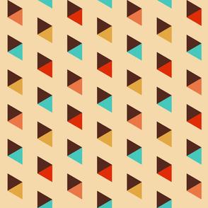 Retro 70s colorful diagonal diamonds cream Wallpaper Fabric