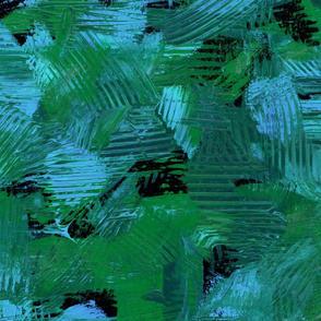 Tropical Green and Blue Abstract Painterly Bright Bold Contrast