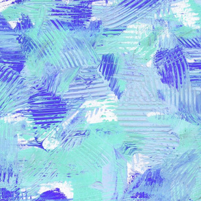 Periwinkle Blue and Mint // Abstract Painterly Bright Bold Contrast