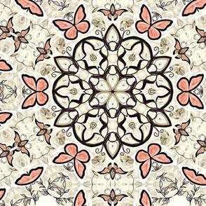 Persian Peach Butterfly Motif