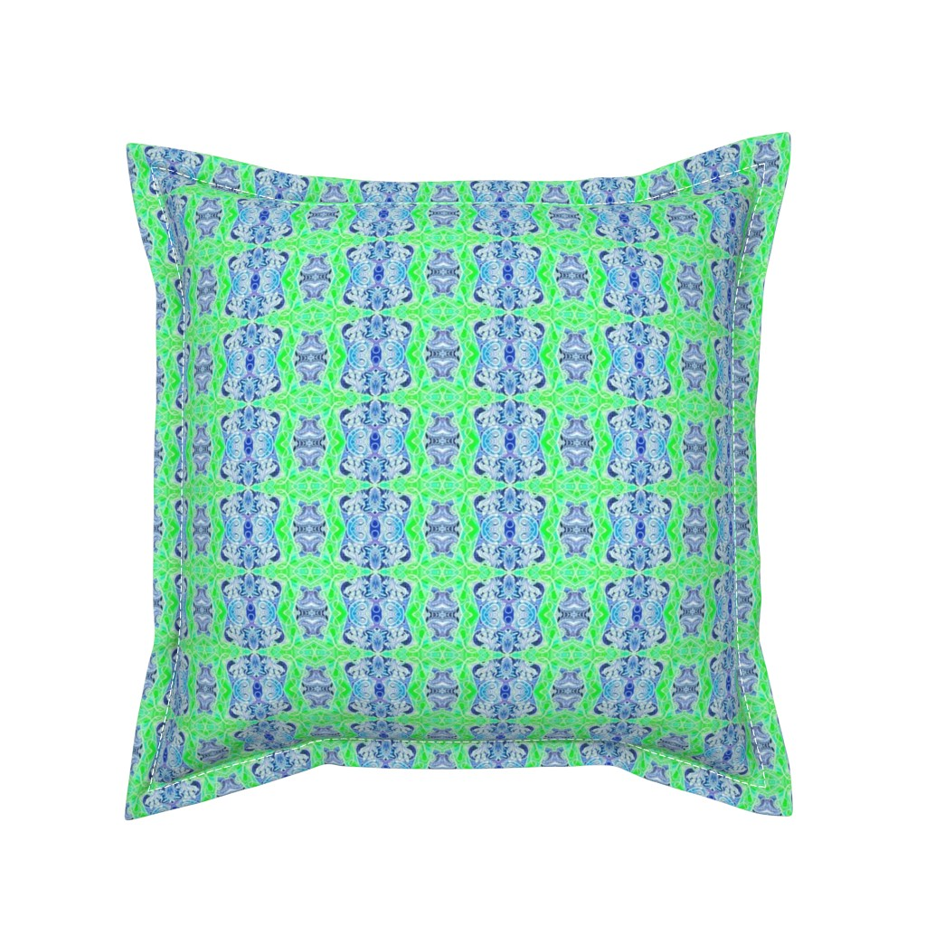 Serama Throw Pillow featuring Mid Century Nouveau Moderne (navy/lime) by edsel2084
