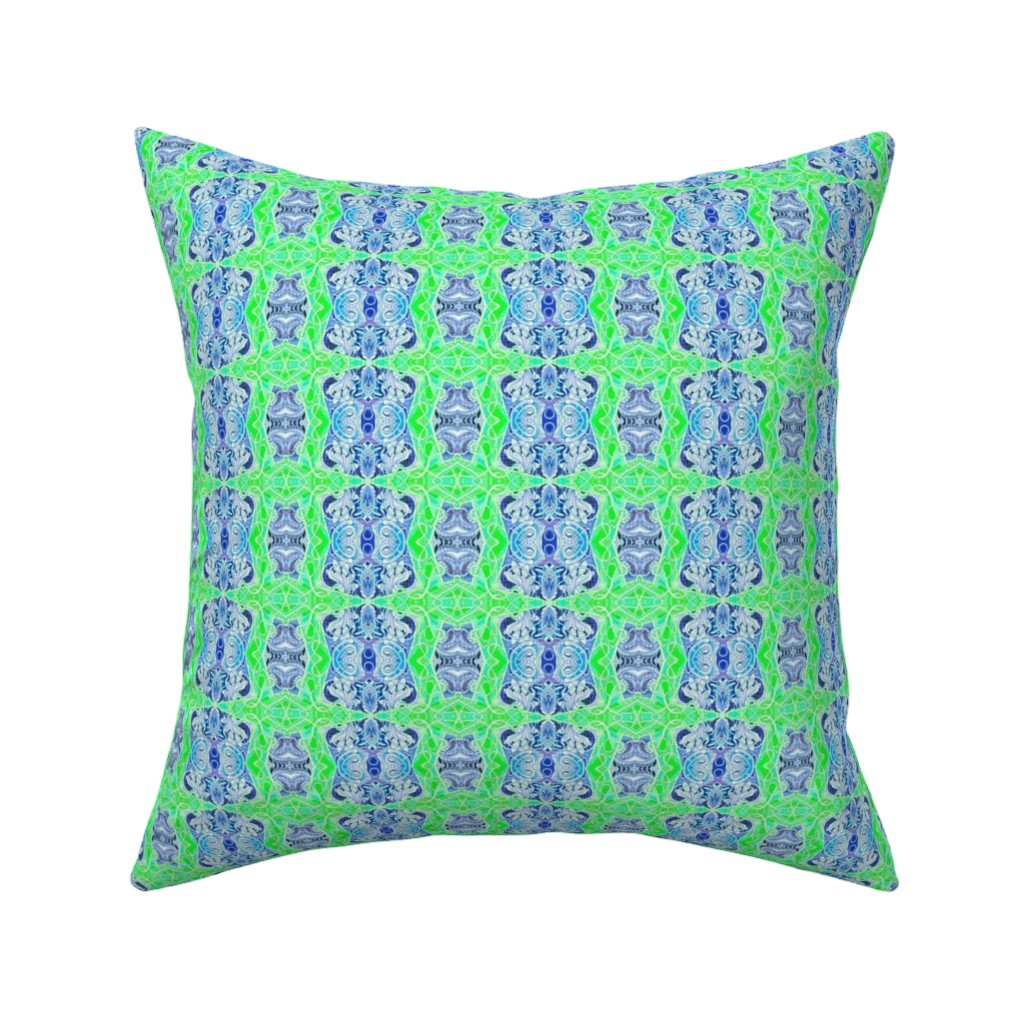 Catalan Throw Pillow featuring Mid Century Nouveau Moderne (navy/lime) by edsel2084