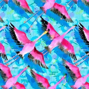 flock of flying flamingos!