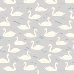 Swans in French Grey large scale by Pippa Shaw