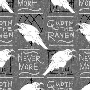 Quoth the Raven Nevermore -- Supernatural Poe Poetry Quote  in Slate and Pantone 2021 Ultimate Gray