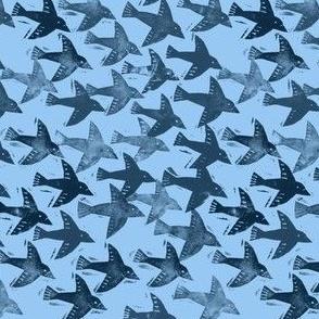 Block print flying ravens