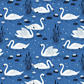 Summer Swan - blue - large scale