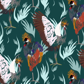 Crowned Cranes on Green