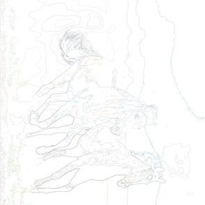 horses running sketch