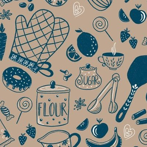 Baking Lovers, Banana Cake Strawbery Muffin, Kitchen Equipment Brown Navy