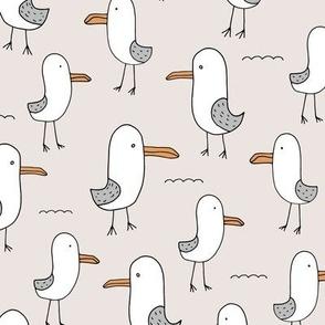 Little baby seagull shore ocean quirky kids summer design soft gray neutral