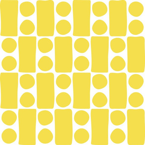 Retro Illuminating Yellow organic blocks & dots mid-century large scale Wallpaper Fabric