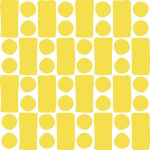 Citrine yellow blocks and dots organic midcentury large scale Wallpaper Fabric