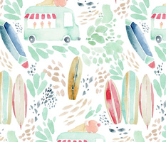 Summer Ice Cream at the Beach watercolor pattern