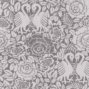 swans with roses in steel gray on linen