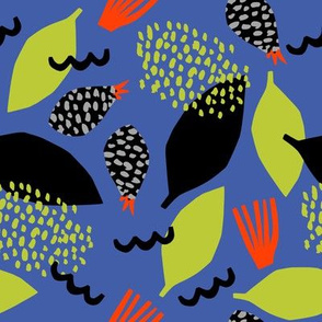 Berries and abstract shapes on a blue background.