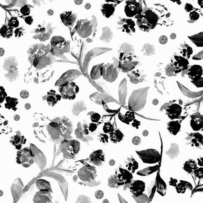 Watercolor romantic boho flowers garden blossom abstract branches winter black and white