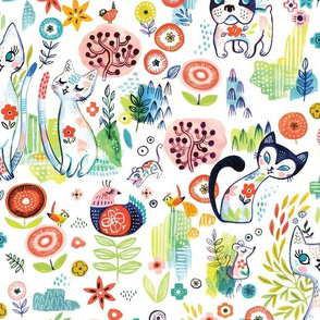 Dreamy Cats and Dogs in the garden