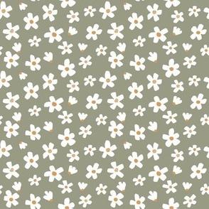 Ditsy micro // Daisy garden Tea Green