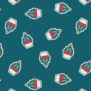 Cute Retro Hand Drawn Cacti in Pots seamless pattern background.