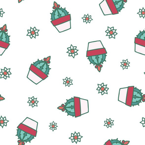 Cute Retro Hand Drawn Cacti with Flowers seamless pattern background.