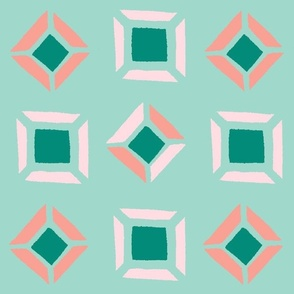 Soft Pink, Peach and Arbor Green Diamonds