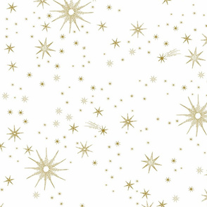 large hand-drawn gold stars on White, jumbo, cosmos, astrology, space, astrological, home decor, gender neutral nursery
