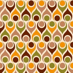 Retro mid-century teardrops atomic age brown orange Wallpaper Fabric