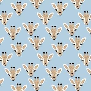 Adorable giraffe love kawaii animals kids summer safari nursery blue