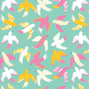 Colorful Collage Birds