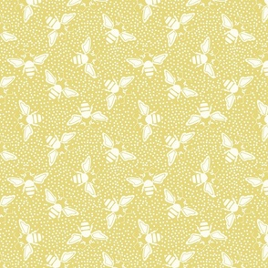 Yellow, white Honey Bees Stencil Style Midcentury Garden