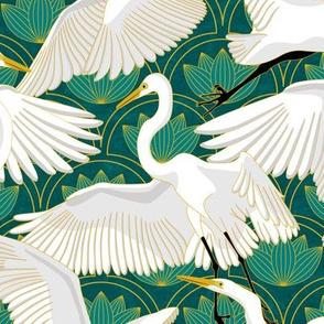 Herons Art Deco-Teal