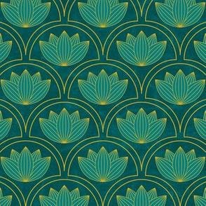 Water Lilies Art Deco-Teal