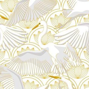 Herons Art Deco_Gold-White